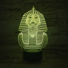 Ancient Egyptian Pharaoh USB 3D LED Night Light Touch Sensor 7 Color Changing decorative lights Lampara Table Lamp Bedside