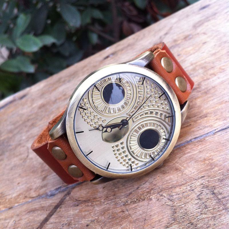 Gnova Platinum Quality Genuine Suede Leather Bracelet Women Watch Big OWL Bronze Wristwatch Retro Vintage Fashion Geneva Style
