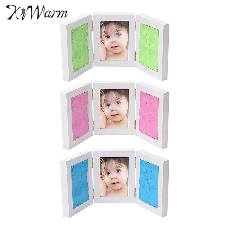 KiWarm 2017 New Kid Photo Frame DIY Hand Foot Print Gift Set Picture Rubber Scrapbooking Stamp For Baby  Birthday Party Event fixmee 50pcs white plastic invisible wall mount photo picture frame nail hook hanger