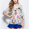 M-XXXXL 2016 Summer Plus Size Women Shirts Chiffon Flower Cat Print Woman Shirt Tops Novelty Sleeve Office Lady