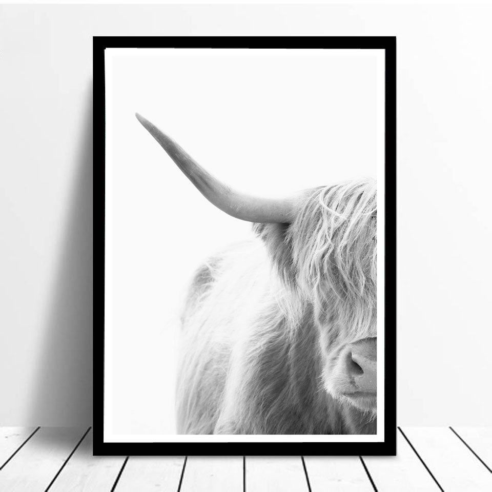673fde11f94 Photography Portrait Highland Cow Posters and Prints Ashen Animals Wall Art  Canvas Painting Wall Pictures For Living Room Decor