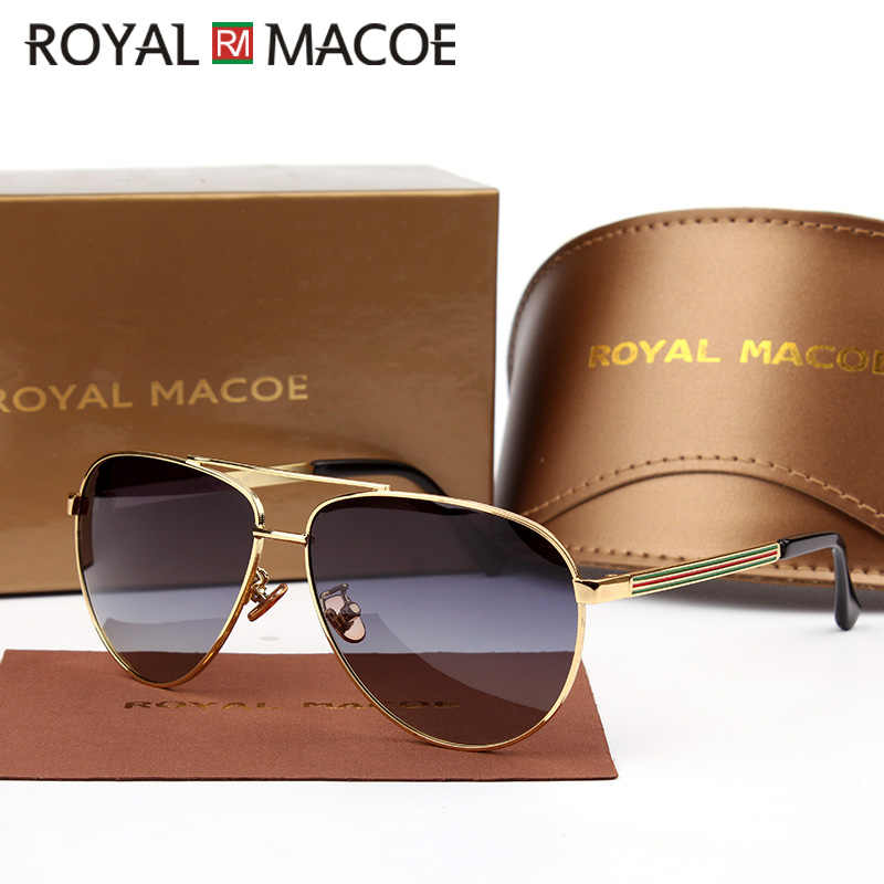 ROYAL MACOE High Quality Classic Men Women Sunglasses Polarized Brand Sun Glasses Driving Shield With Case Oculos Lentes