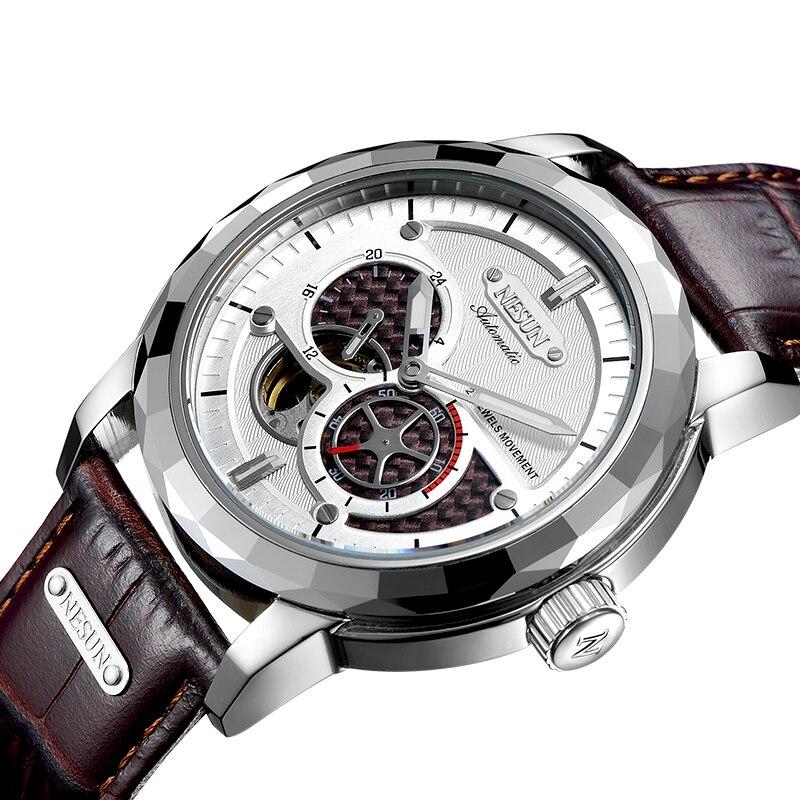 все цены на Switzerland Luxury Brand NESUN Skeleton Tourbillon Watch Men Auto Self-Wind Men's Watches 100M Waterproof Sport clock N9810-4 онлайн