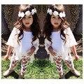 [Bosudhsou.] JH-72 Icono de La Moda Niñas trajes de Gasa Capa + Chaleco + Pantalones Florales Niños Ropa Conjuntos Niños Ropa Accesorios