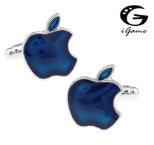 iGame Men Gift Apple Cufflinks Blue Color Copper Material Enamel Blue Apple Fruit Design Free Shipping cheap Tie Clips Cufflinks Fashion Plant Classic Cuff Links Simulated-pearl Metal B1024