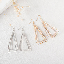 LE SKY Fashion Geometric Three-Dimensional Triangular Hollow Crystal Diamonds Earrings for Women Vintage Alloy Earrings