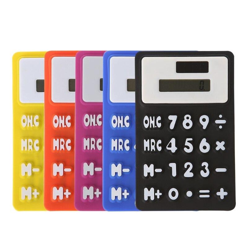 Складной мягкий силиконовый ручной научно солнечный калькулятор для школы и офиса