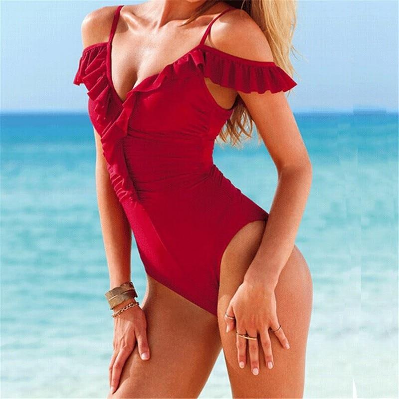 2017 Sexy High Cut One Piece Swimwear Monokini Backless Beachwear Swimsuit Beach Bathing Suit Monokini Swimming Trikinis 1