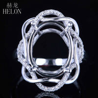 HELON 16x12mm Oval Solid 14K White Gold Pave Natural Diamonds Semi Mount Wedding Ring Anniversary Women