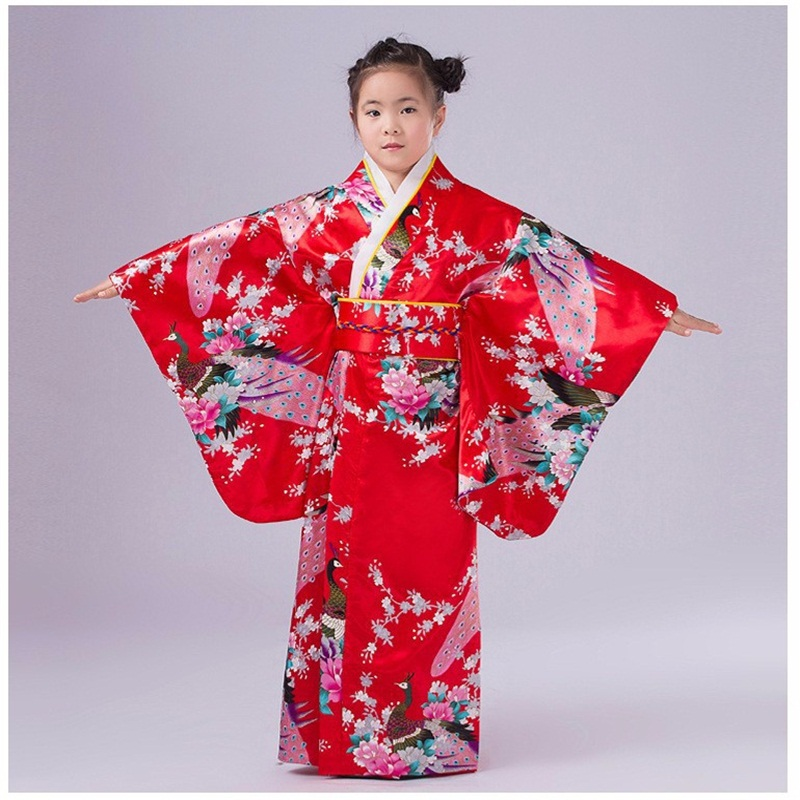 National Trends Japanese Girl Kimono Dress Traditional Children Yukata Kid Girl Dance Costumes Child Cosplay Dress