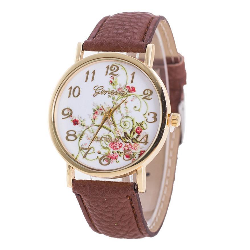 Luxury Fashion Women Crystal Geneva Fashion Women Flowers Watches Sport Analog Quartz Wrist Watch Montre Femme 2018 Top Selling