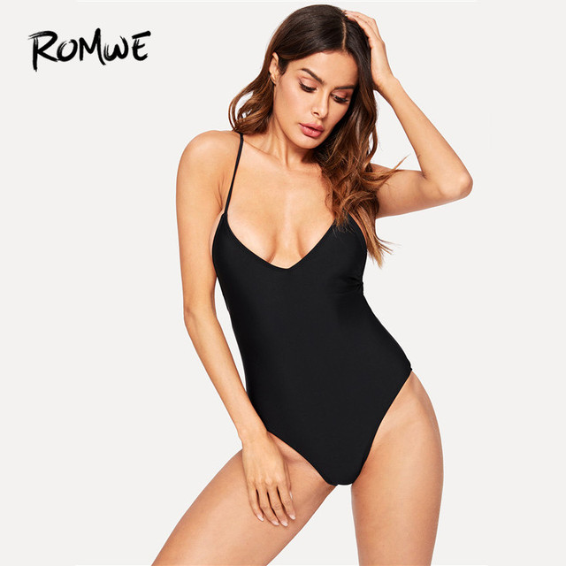 f53357146c Romwe Sport Cross Back Ruched Plunge Swimsuit Women Black Push Up Plain  Monokinis With Chest Pad 2018 Summer Sexy One Pieces