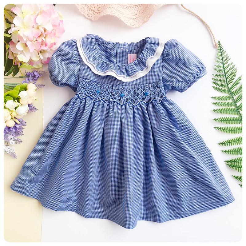 Infant Newborn Baby Smocked Dress Kids Plaid Cotton Summer
