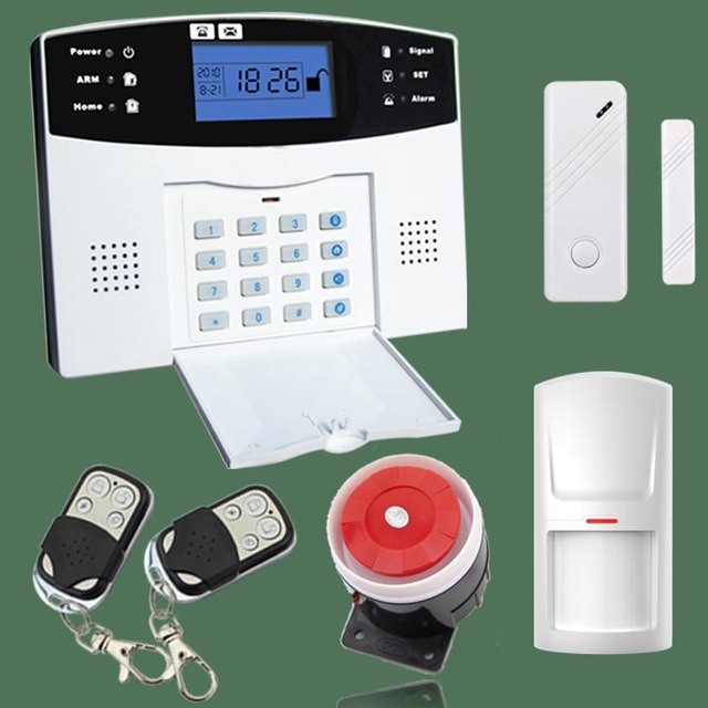 quad band wireless/wired gsm alarm system LCD display door sensor home security alarm systems Wired Siren Kit SIM SMS Alarm