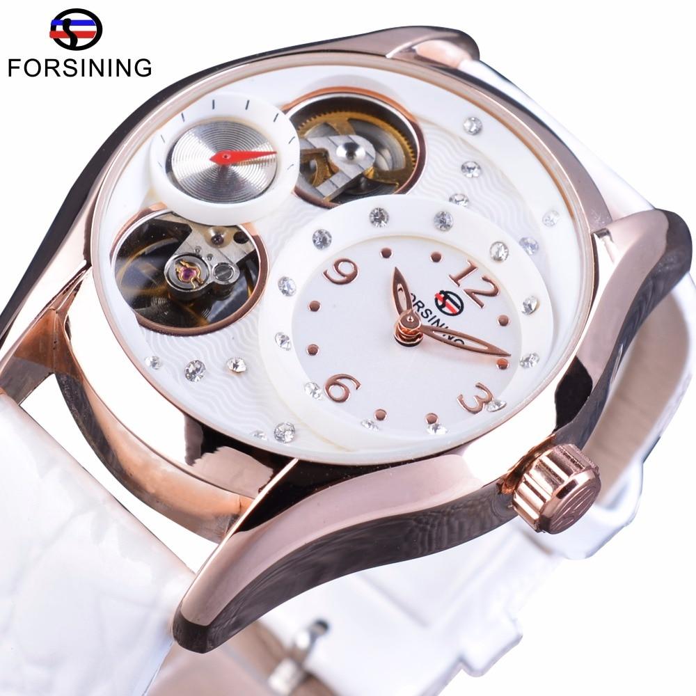 Forsining Luxury Brand Relogio Tourbillion Vit Läder Kvinnor Tillfälligt Klockor Klocka Kvinnlig Mode Klänning Rhinestone Armbandsur