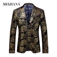 MEIJIANA 2018 Hot Sale Luxury Men Party Suit Blazer Men Fashion Gold Jacket Single breasted Wedding Dress Suit