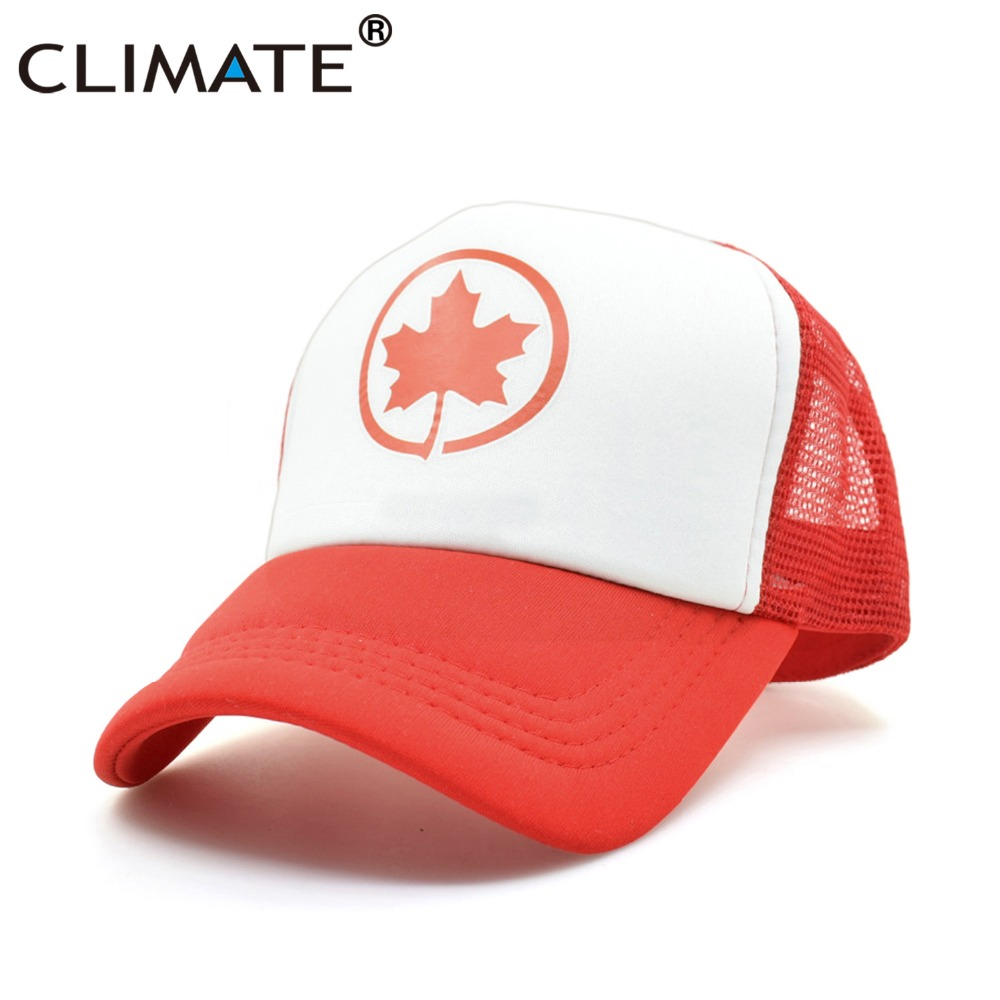 CLIMATE Canada Flag Maple Leaf Red Summer Cool Trucker Caps 2017 Red Mesh Caps Cool Summer Baseball Mesh Net Trucker Caps Hat climate men women summer cool mesh cap remix music dj hardwell on air fans cool baseball mesh summer net trucker caps hat fans
