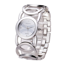 Women Imitation Gold Plated Circles Strap Stainless Steel Bracelet Watches