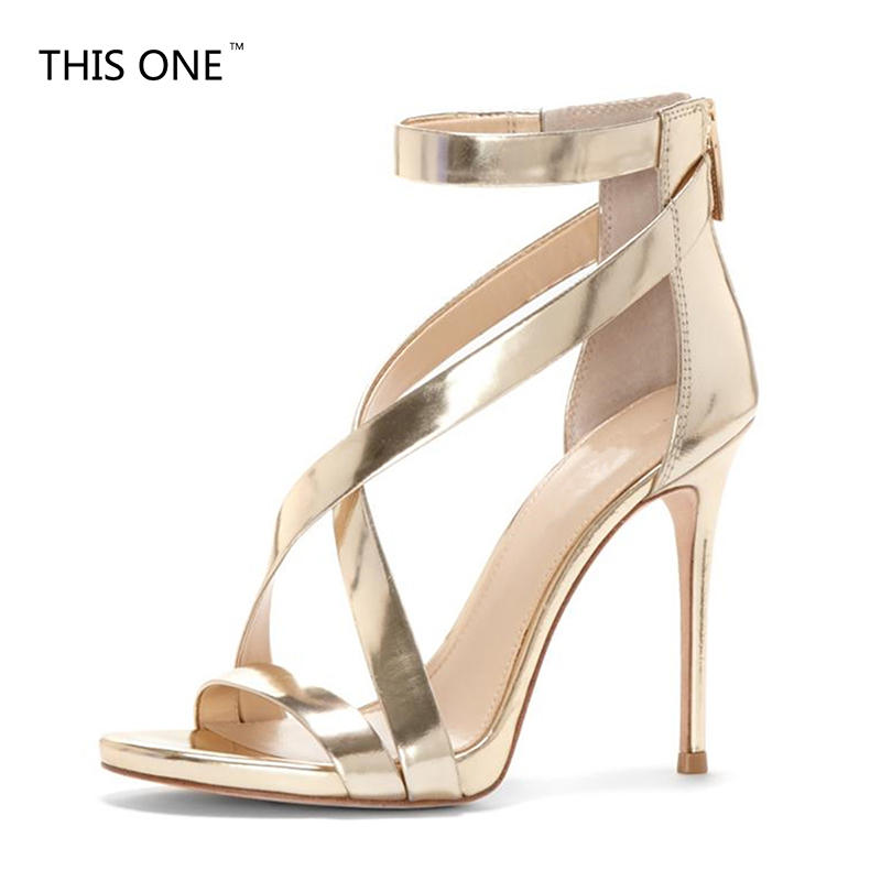 2018 new design Gold and silver pointed toe women shoes cross-tied high heel summer sandals zipper buckle strap plus size plus size zipper up pockets design hoodie