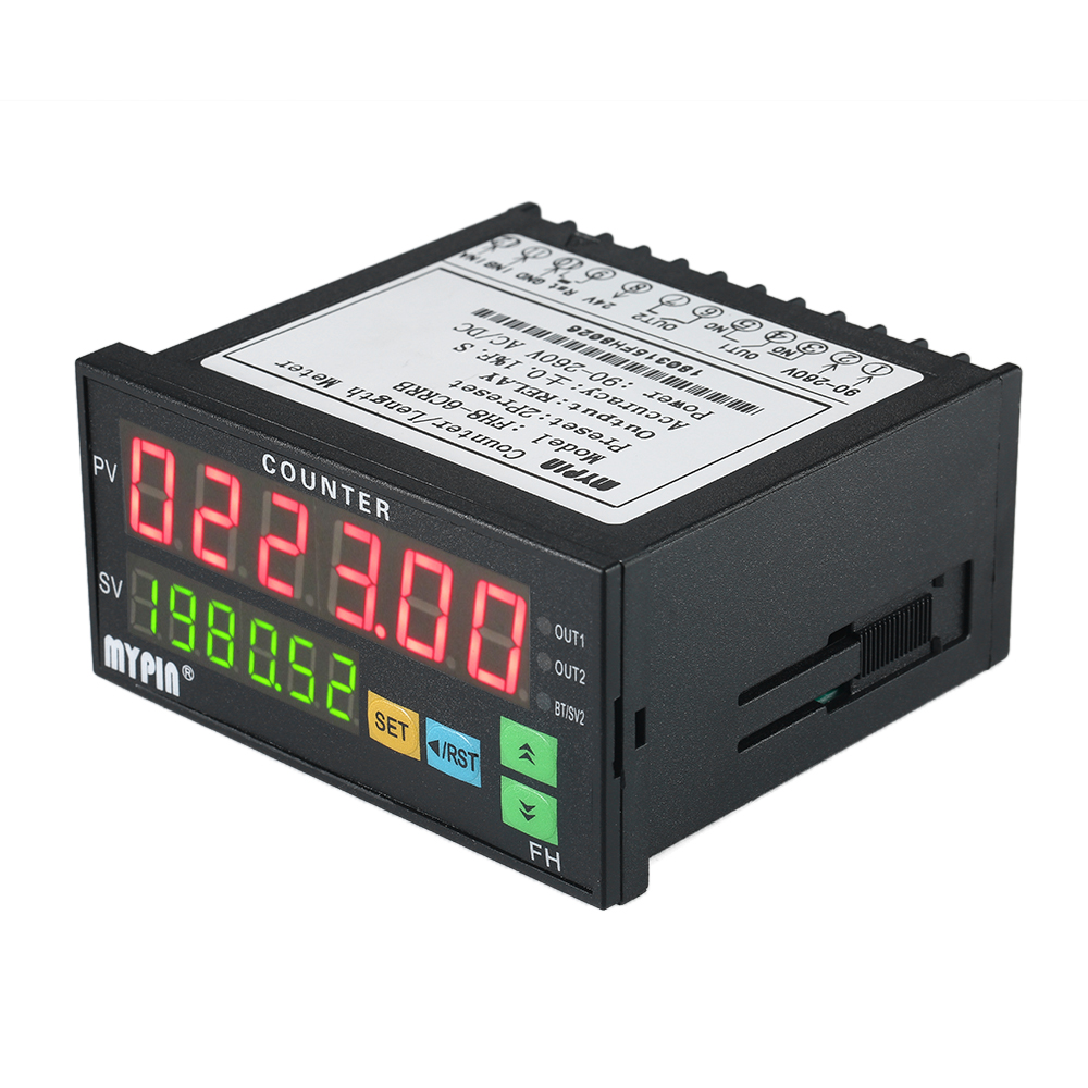 Multi-functional Dual LED Display 6 Digits Digital Counter 90~265V AC/DC Length Meter With 2 Relay Output And Pulse PNP NPN