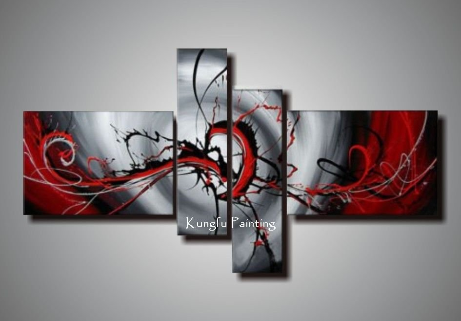 100% hand painted black white red canvas art group oil painting wall ...