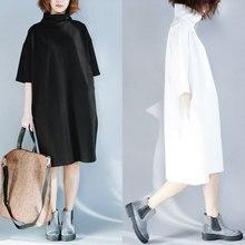 17d3e2b0e Buykud 2018 Spring Autumn Women Turtleneck Solid Loose Midi Dress Half  Sleeve Casual Fashion Short Dresses