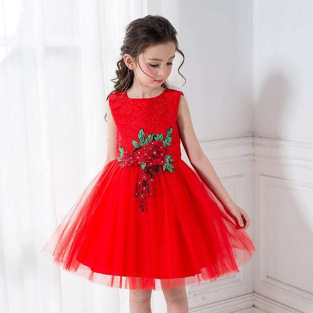 Cocktailjurk Bruiloft 2019.Bloem Meisjes Jurk Verjaardag Dragen Mouwloze Rode Mini Meisje