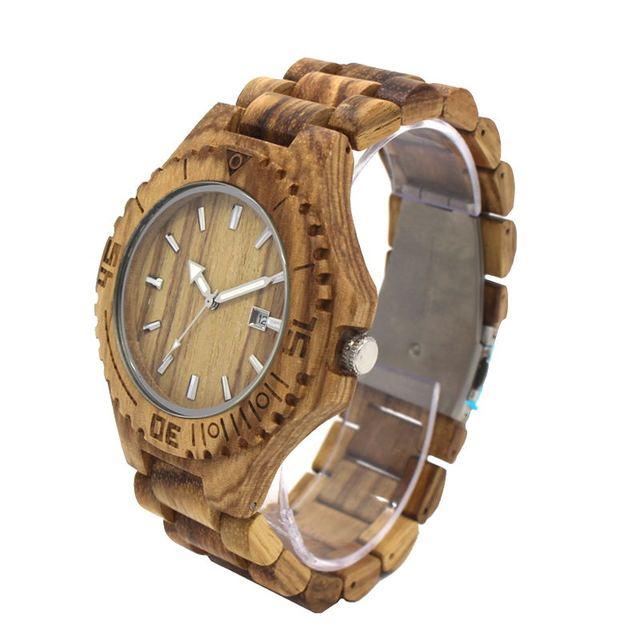 Мужской дата натурального дерева Часы Для мужчин старинные деревянные часы Роскошные Повседневное наручные противоударный устойчивостью