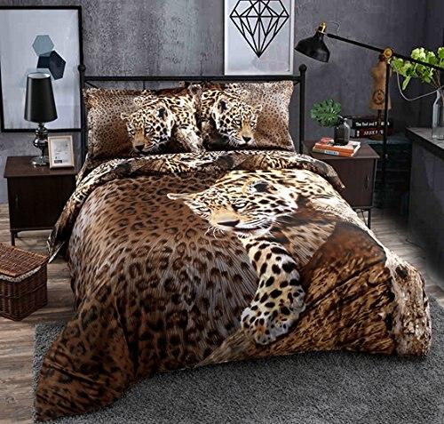 Warm Tour 4pcs 4 Pieces Bedding Sets Y Leopard Cheetah Animal Print Duvet Cover Set