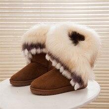 Botas Mulheres Botas de Neve do Inverno do Tornozelo Para As Mulheres Enxurrada Desliza Sapatos Dedo Do Pé Redondo Feminino Sapatos de Plataforma Bota de Pele De Raposa Quente feminina