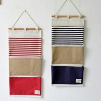3 Pockets Vintage Linen Closet Hanging Storage Organizer Bags Door Rack Wall Holder Decoration Cosmetic Sundries