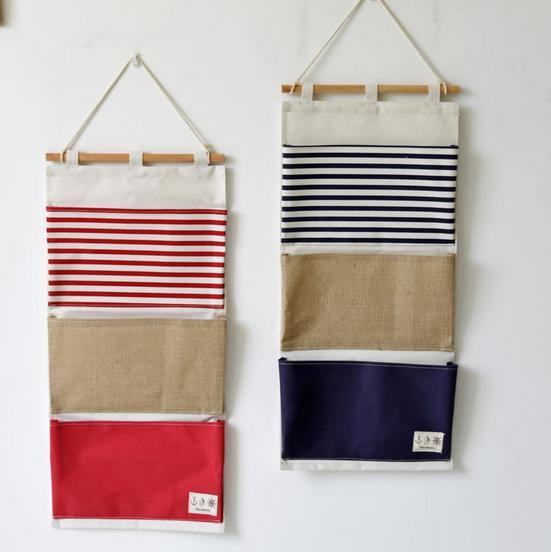 3 Pockets Vintage Linen Closet Hanging Storage Organizer Bags Door Rack  Wall Holder Decoration Cosmetic Sundries