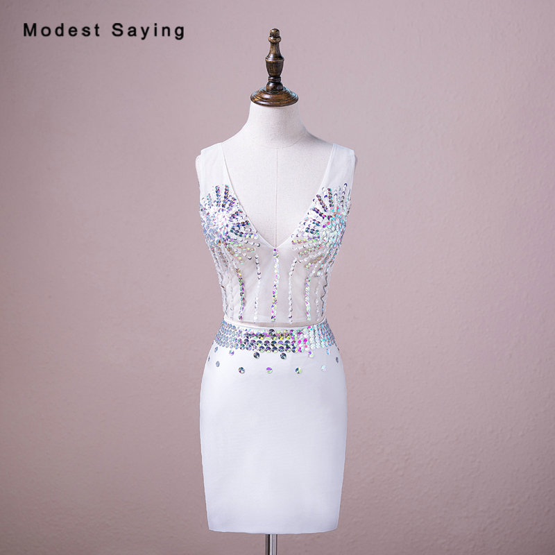Real Sexy Sheer Ivory Straight V Neck Crop Top Rhinestone Cocktail Dresses 2018 Short 2 Pieces Party Prom Gowns robe cocktail