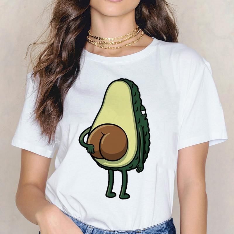 Avocado Funny T Shirt Women Vegan Femme Ulzzang Clothes Tshirt Top Tee Shirt Korean Female T-shirt Cartoon Harajuku Print Summer