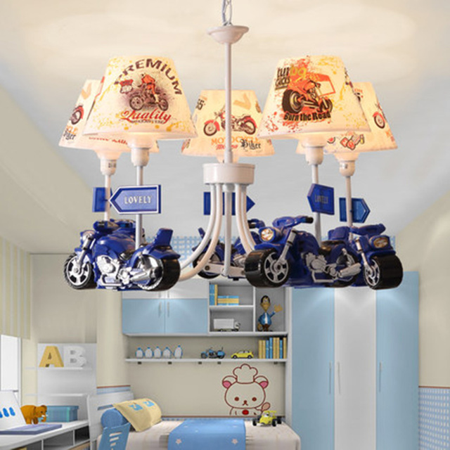 Art Deco Mini Harley Davidson Motorcycle Chandeliers Novelty Blue Cartoon Hanging Lamps Children S Room Led