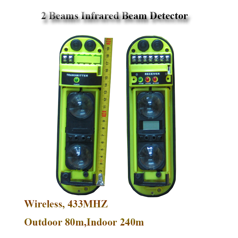 GZGMET 433MHZ WIREd 100 METER  Infrared Beam Detector Baluster FENCE WINDOW  Gsm Home Security Alarm System SENSOR low voltage motion sensor window door protecting fence beam detector for shop house security