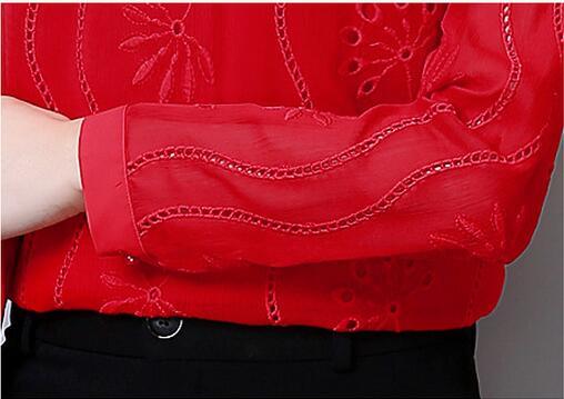 De Avec Femmes White Chemises red S La À A490 Blouses Blouse Dames Taille Shirt Nouvelle Plus 2017 Femme Manches black Longues Tops 3xl Élégantes Arc Mode gqExUv