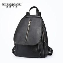 Wiliamganu черный 100% натуральная кожа рюкзак женские Элегантный Дизайн Повседневная сумка Школа IPad ноутбука рюкзаки для девочек-подростков 0881