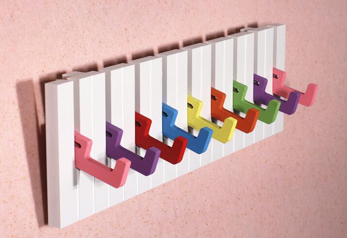 फैशन पियानो डिजाइन 5 हुक तौलिया टोपी कोट कपड़े दीवार माउंट रैक हैंगर 30 सेमी