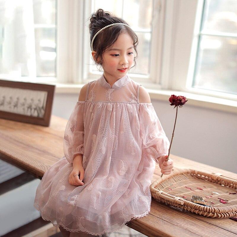 Robes en dentelle pour petites filles 4 5 6 8 10 nouveau 2019 broderie manches longues princesse mariage Vocation robe chine Chi Pao Cheongsam