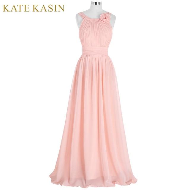 Elegant Pink Bridesmaid Dress Long Chiffon Vestido de Festa de Casamento  Beach Bridesmaid Dresses 2017 Wedding Formal Dress 8ad2346dd820