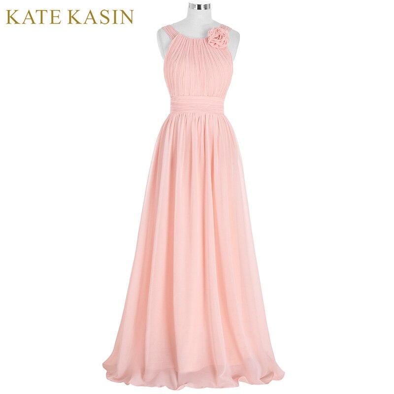 Elegante Rosa vestido de dama de gasa larga vestido de festa de ...