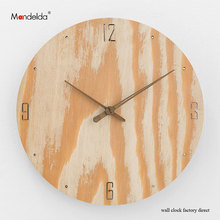Mandelda High Quality Creative Silent Digital Wall Clock Battery AA Powered Fine Finish Wooden Home Decorative Accurate