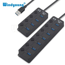 USB Hub 3.0 High Speed 4 / 7 Port Splitter On/Off Switch with EU/US Power Adapter for MacBook Laptop PC