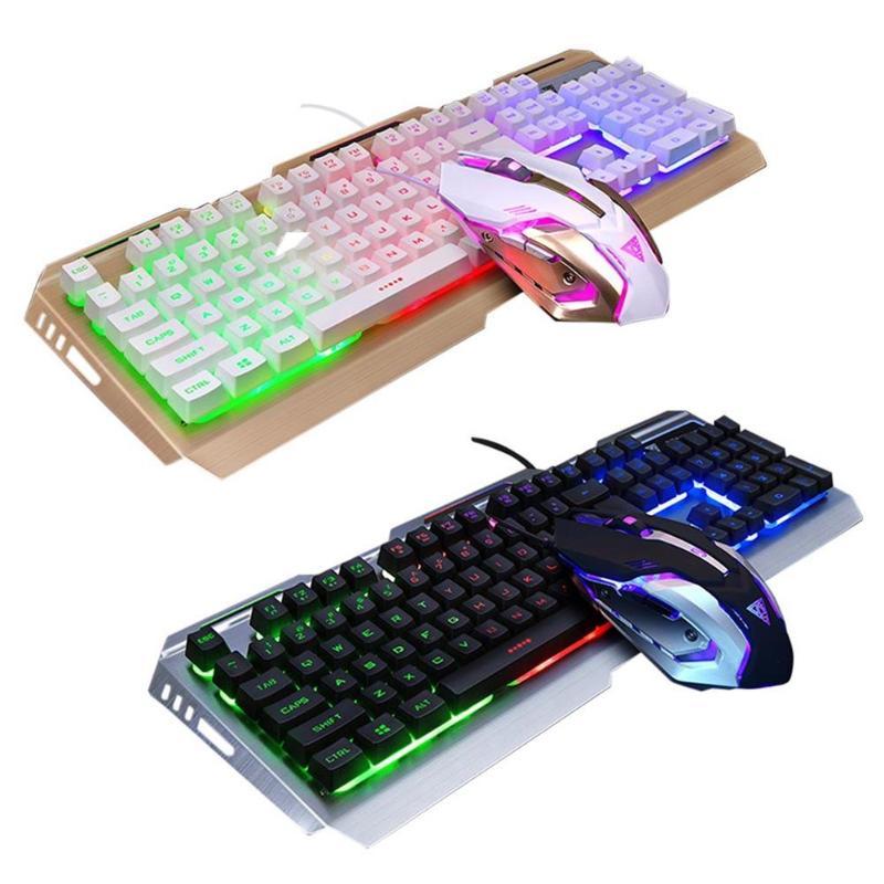 V1 USB filaire clavier de jeu mécanique rétro-éclairé et ensemble de souris Adajustable sensation mécanique