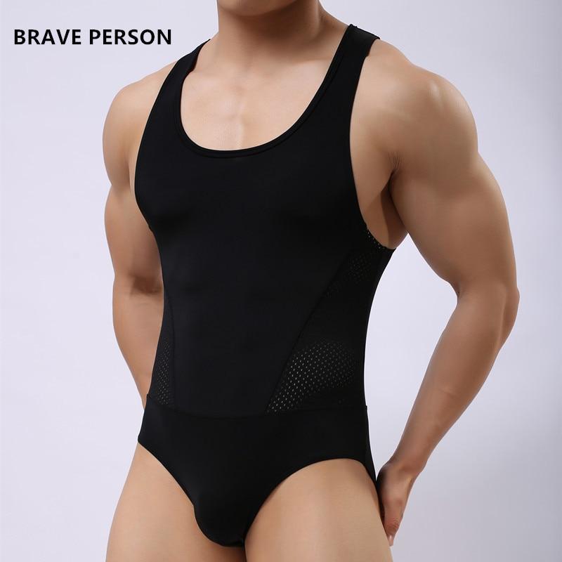 ORANG BRAVE merek mens kaos pakaian spandex sexy tank top pria bodysuit kaos jumpsuit celana pendek