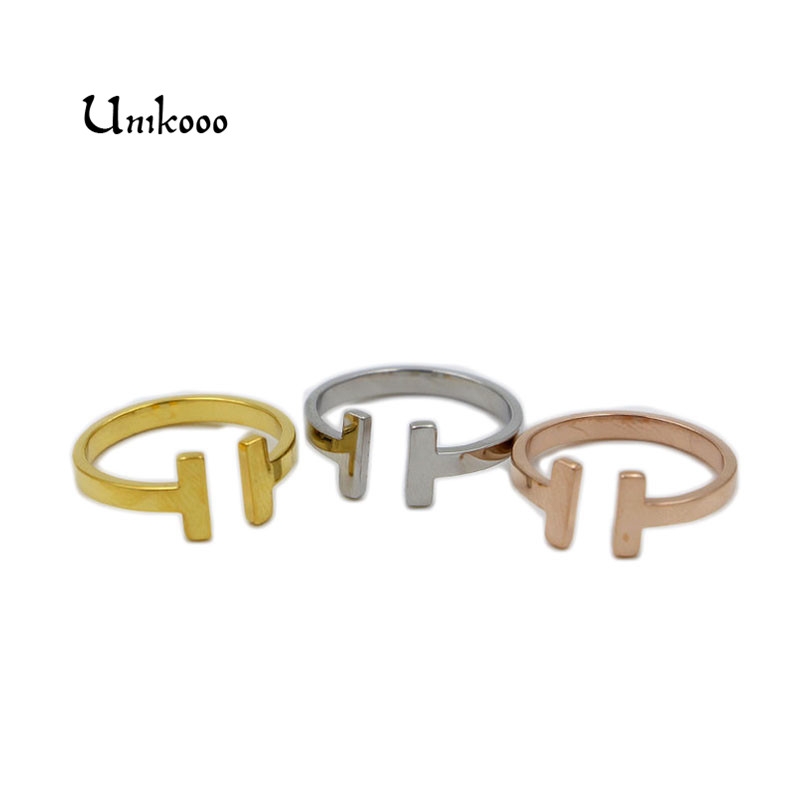 Galleria fotografica Fashion Ring for Women Real Opening Letter <font><b>T</b></font> Shaped <font><b>Gold</b></font> Ring Bagues Jewelry