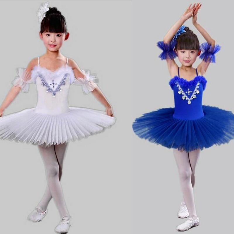 ed69c0b36236 Girls White Swan Lake Ballet princess dance dress Costume Kids Tutu ...