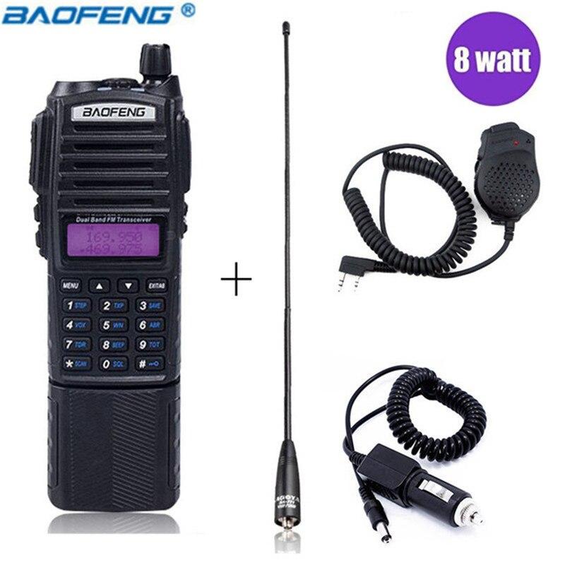 Baofeng UV-82 Plus 8 w Haute Puissance 3800 mah Talkie Walkie Double Bande 136-174 mhz et 400- 520 mhz 10 km Longue Portée Jambon CB Portable Radio