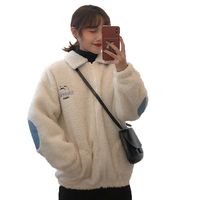 Winter Korea casual women top New Harajuku vintage Delicate embroidery coat color matching patch thick lambskin oversized jacket